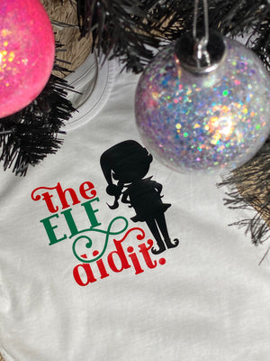 The Elf did it kids t shirt