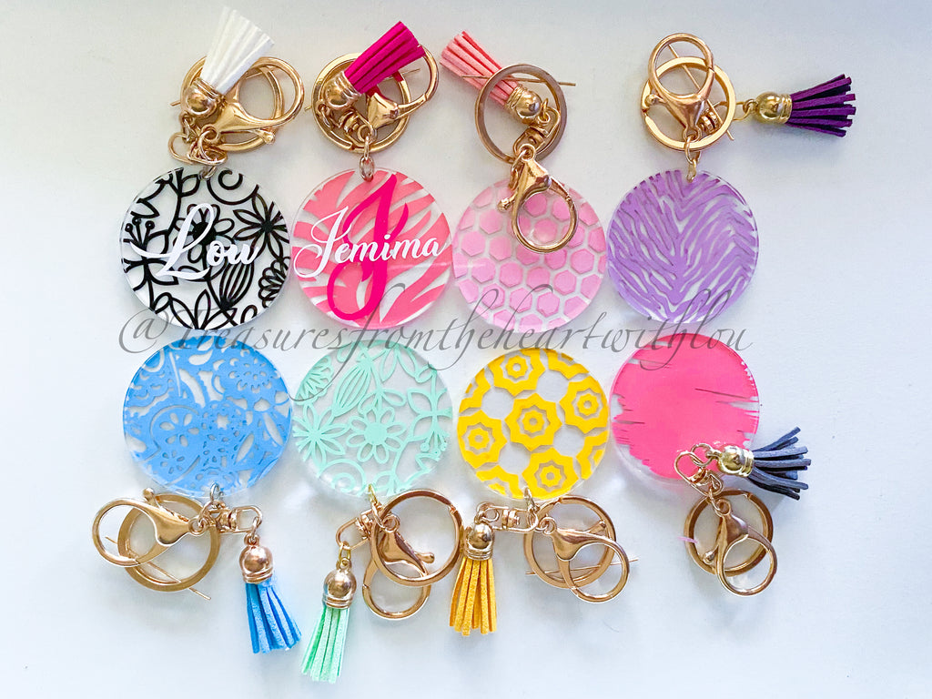 5cm Personalised Patterned Acrylic Keyrings with Tassel