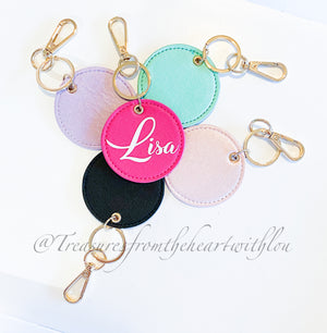 Round PU Leather Keyring