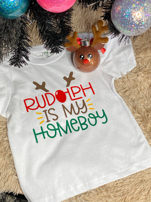 Rudolph is my Homeboy kids tshirt