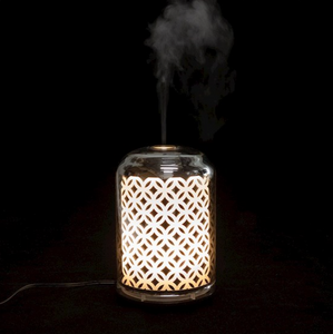 Electric glass diffuser with flower of life print