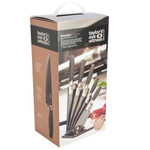 Taylor's Eye Witness Brooklyn 5 piece Knife Block in Black and Copper