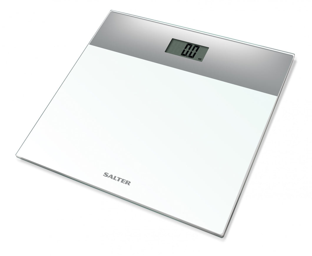 Salter Compact Glass Digital Bathroom Scales - White and Silver