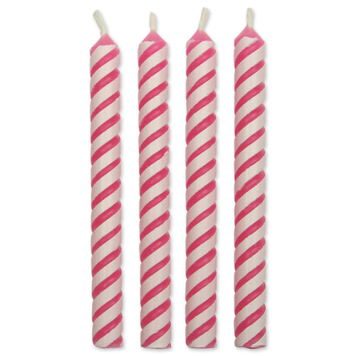 Pink Medium Striped Candles Pk/24