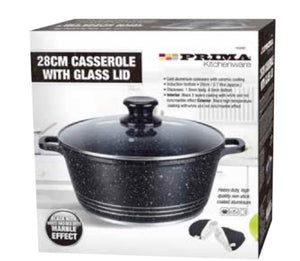 28CM Casserole With Glass Lid ( black)
