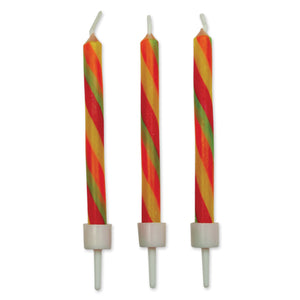 Candy Stripes Twist Candles W/ Holders Pk/10