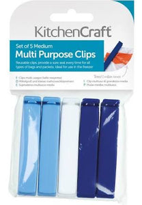 KitchenCraft Set of 5 Medium Bag Clips Medium