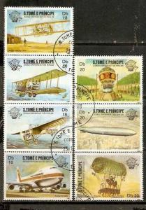 St. Thomas & Prince Islands 1983 Aviation Aeroplane Zeppelin Graf Balloons Sc 701-4 Cancelled # 923-90A