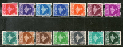 India 1957 3rd Definitive Series Map WMK-Star Complete Set of 14v Phila-D38-51 MNH # 100