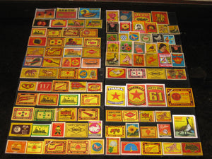 India 100 Diffrent Match Box Labels Elephant Bird Lion Monkey Ship Rose Tiger - Phil India Stamps