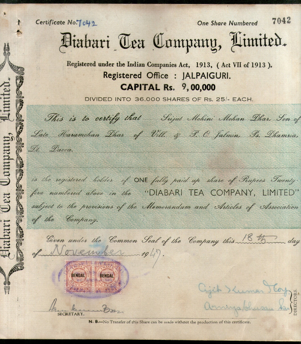 India 1940's Diabari Tea Company Share Certificate with Revenue Stamp # 10385A - Phil India Stamps