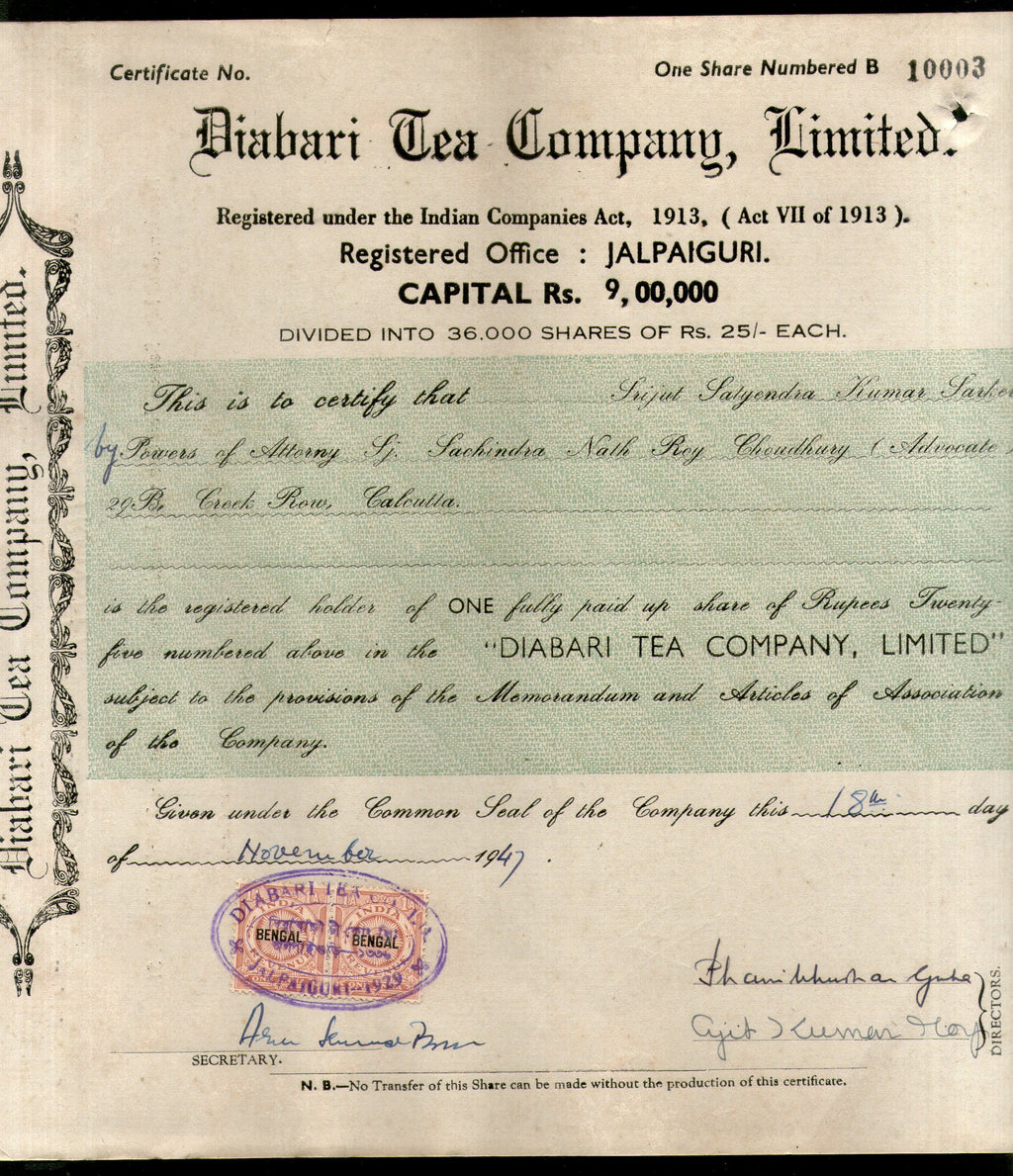 India 1940's Diabari Tea Company Share Certificate with Revenue Stamp # 10385D - Phil India Stamps