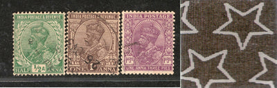 India 3 Diff KG V ½A 1A & 1A3p ERROR WMK - Multi Star Inverted Used as Scan # 1055