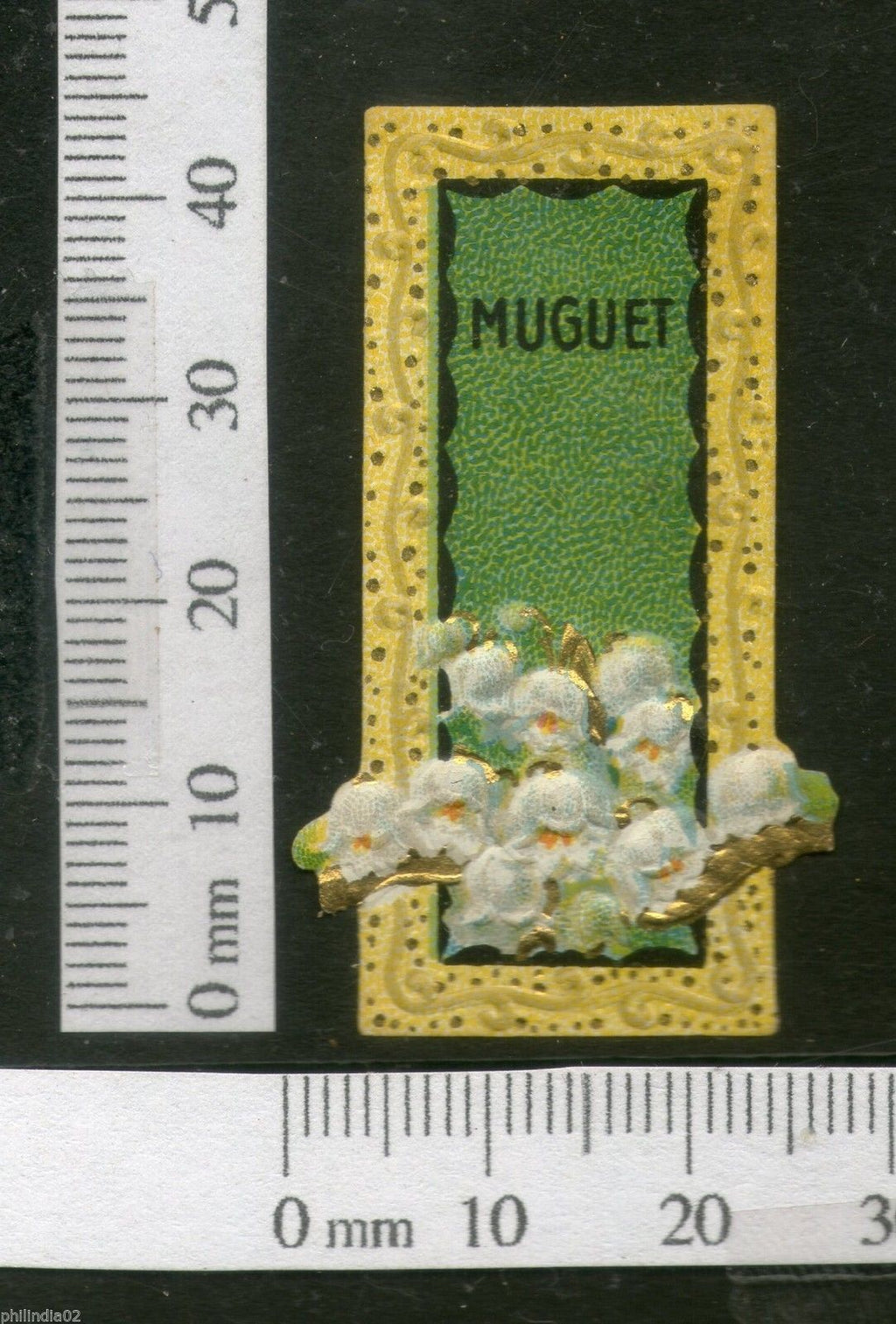 India 1950's Muguet Flowers French Print Vintage Perfume Label Multi-Colour # 105 - Phil India Stamps