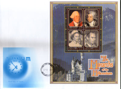 Grenada 2000 Monarchs of the Millennium King Sc 2696 Sheetlet FDC # 10832