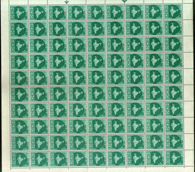 India 1960 1p Map of India 3rd Definitive Series Ashokan Phila-D52 Full Sheet of 90 Stamps MNH # 10845