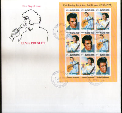 Maldives 1993 Elvis Presley Cinema Music Film Actor Sc 1836 Sheetlet FDC # 10907