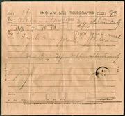 India 1904 Telegraph / Telegram Bombay to Bahawalpur Pakistan + Envelope #10930F