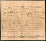 India 1905 Telegraph / Telegram Bombay to Bahawalpur Pakistan + Envelope #10930J