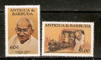 Antigua & Barbuda 1984 60c & $1 Mahatma Gandhi of India 2v MNH set # 1195