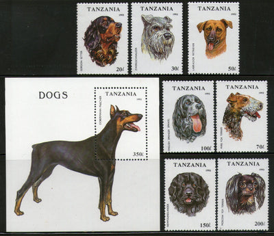 Tanzania 1993 Breeds of Dogs Pet Animals 7V+ M/s MNH # 12642