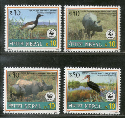 Nepal 2000 WWF Florican Horn Rhinoceros Bird Wildlife Animals Sc 682-5 MNH # 12826