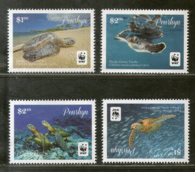 Penhryn 2014 WWF Green Turtle Marine Life Animal Sc 540-43 MNH # 13048