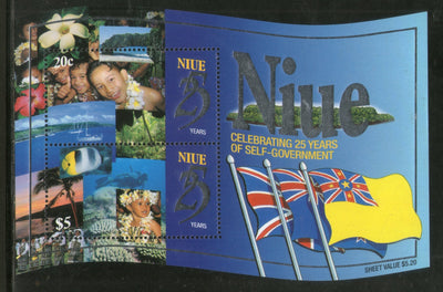 Niue 1999 Self-Government Anni. Flags Boat Fish Odd Shaped Sc 740 M/s MNH # 13115