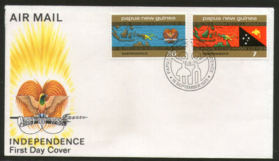 Papua New Guinea 1975 Independence Flags Coat of Arms Map 2v FDC # 13152