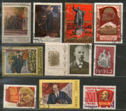 Russia USSR 10 Diff. Lenin Painting Sport Space Ship Flag Used Stamps # 13164