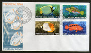 Papua New Guinea 1976 Fishes Marinelife Mammals Butterflyfish 4v FDC # 13170