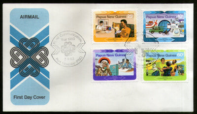 Papua New Guinea 1983 World Communications Year Science Telephone 4v FDC # 13230