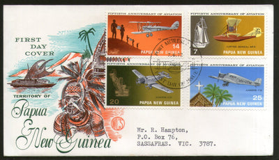 Papua New Guinea 1972 Aviation Aeroplane Transport Church Ship Mask 4v FDC # 13310