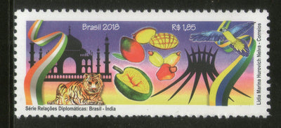 Brazil 2018 Diplomatic Relationship of India Taj Mahal Bird Tiger 1v MNH # 13323A