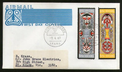 Papua New Guinea 1969 Folklore Myths of Elema People Art 2v FDC # 13358