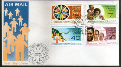 Papua New Guinea 1980 National Census Population Symbol Map 4v FDC # 13406