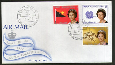 Papua New Guinea 1977 Queen Elizabeth II Flag Coat of Arms Map 3v FDC # 13437