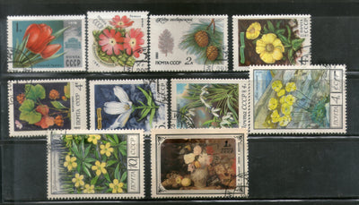 Russia USSR 10 Diff. Flowers Tree Plant Flora Used Stamps # 13524