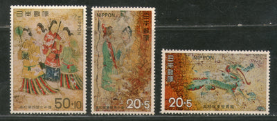 Japan 1973 Mural Ancient Painting Art Women Dragon Sc B38-40 MNH # 1400