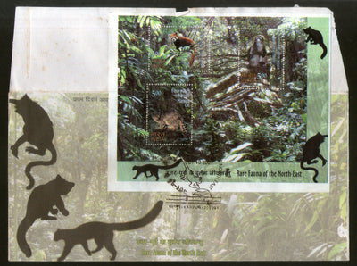 India 2009 Wildlife Animals Rare Fauna of the North East Monkey Big Cat M/s on FDC