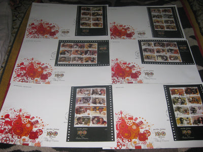 India 2013 100 Years of Indian Cinema Film Movie Art Set of 6 Sheetlets on FDC