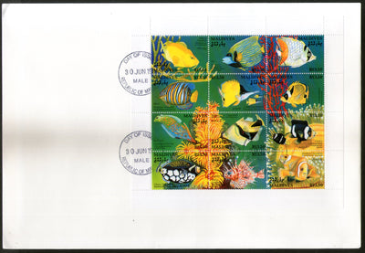 Maldives 1993 Aquarium Fishes Marine Life Sc 1868A Sheetlet FDC # 15078
