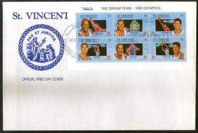 St. Vincent 1992 US Volleyball Dream Team Olympic Games Sc 1745 Sheetlet FDC # 15115
