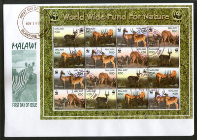 Malawi 2003 WWF Paku Deer Antelope Wildlife Animal Sc 714 Sheetlet FDC # 15176