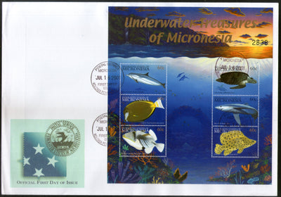 Micronesia 2001 Under Water Fishes Marine Life Animals Sc 445 Sheetlet FDC # 15201
