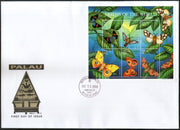 Palau 2001 Butterfly Moths Insect Wildlife Animal Fauna Sc 621 Sheetlet FDC # 15204