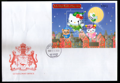 Guyana 2001 Hello Kitty Cartoon Fairy Tales Film Cinema M/s FDC # 15275