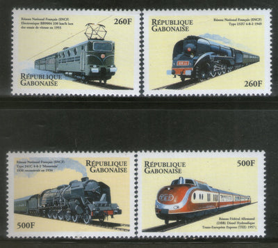 Gabon 2000 Locomotives Railway Train Transport Sc 1028-31 MNH # 155