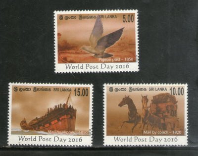 Sri Lanka 2016 World Post Day Pigeon Post Travelling Post Office Ship 3v MNH # 15