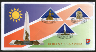 Namibia 2003 Heroes Acre Monuments with Inspiration Odd Shap Stamps FDC # 16183
